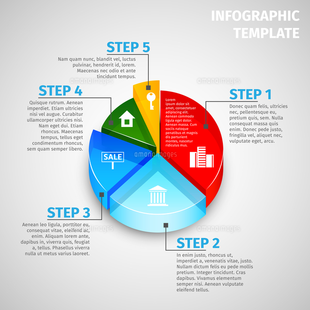 colored abstract 3d pie chart real estate infographic template