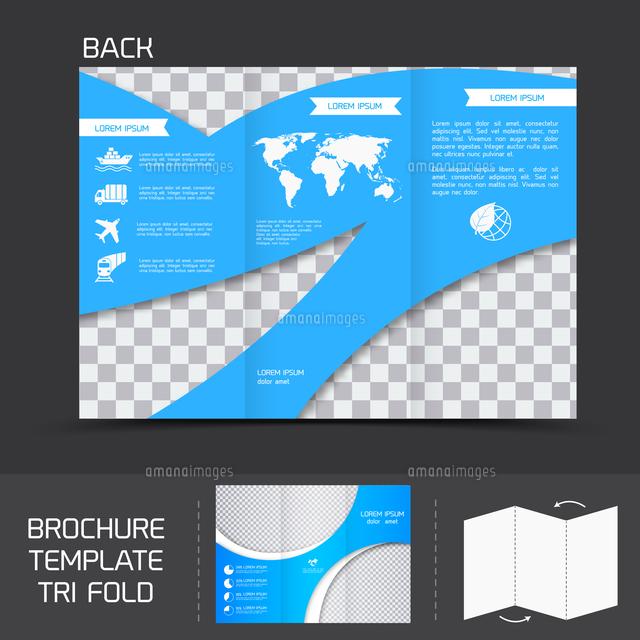 blue logistics brochure leaflet tri fold design back template vector