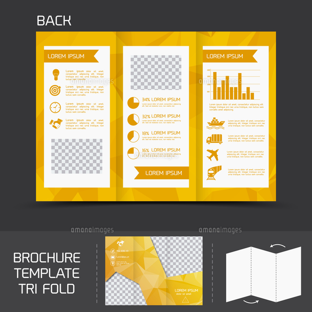 yellow logistics paper brochure leaflet tri fold design back