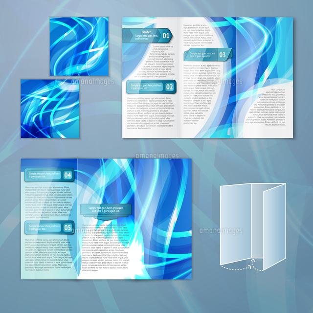 blue abstract design paper brochure leaflet tri fold design back and