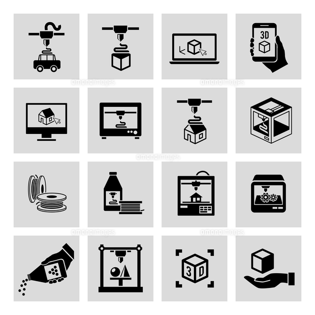 printer 3d black icons set of manufacturing technology and