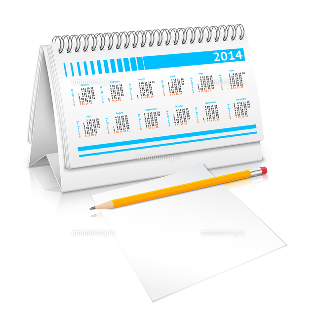 spiral desk business office calendar planner mockup with pencil and
