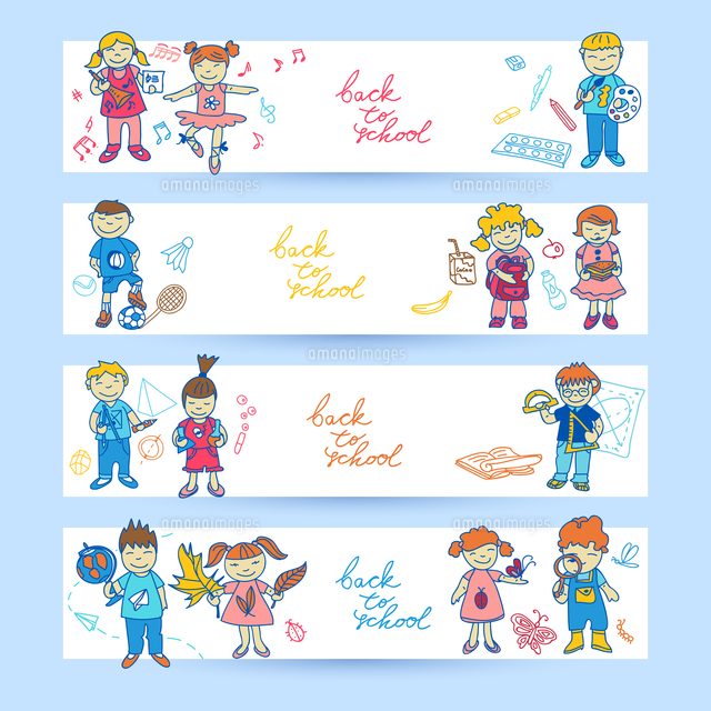 set of banners with doodle cute study school education girls and