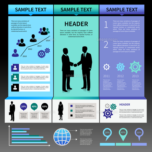 infographics presentation layout template with business people