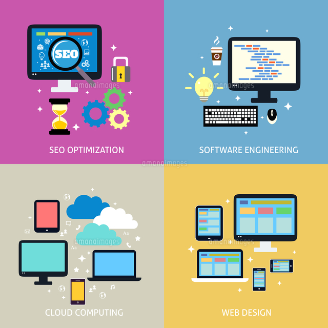 Business process concept of seo optimization programming cloud computing mobile and website design i