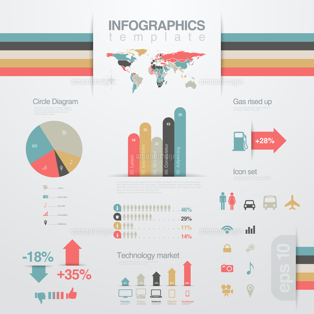 infographics design elements template business report financial