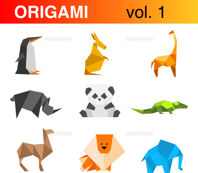 origami animals logo template set 1 penguin kangaroo giraffe