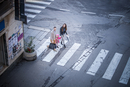 High angle view of couple and daughter on pelican crossing