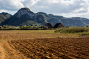 Ploughed field with mountain landscape, Vinales, Cuba