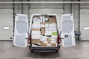 Boxes loaded in van at factory