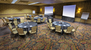 Empty banquet room with projection screens