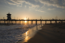USA, California, Los Angles, Sunset over Huntington Beach