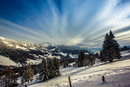 Landscape with Les Pleiades mountains in winter, Lally, Switzerland