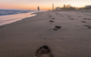 Footsteps on beach at sunset, Gran Canaria, Canary Islands, Spain