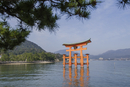 Torii gate at Itsukushima Shrine against sky