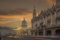 The Capitol building and the National Theater at sunset, Havana, Cuba 11015253642| 写真素材・ストックフォト・画像・イラスト素材|アマナイメージズ