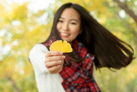Portrait of young woman holding yellow gingko leaf in autumn park, Beijing, China 11015297411| 写真素材・ストックフォト・画像・イラスト素材|アマナイメージズ