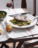 Steak with green pepper sauce, brussels sprouts and bacon 11015303196| 写真素材・ストックフォト・画像・イラスト素材|アマナイメージズ