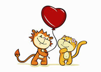 A cartoon tiger giving a heart shaped balloon to a cat 11016018454| 写真素材・ストックフォト・画像・イラスト素材|アマナイメージズ