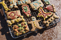 Close-up of various gingerbread cookies on metal grate 11016035697| 写真素材・ストックフォト・画像・イラスト素材|アマナイメージズ