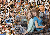 Collage of friends over collage of smiling faces 11018070898| 写真素材・ストックフォト・画像・イラスト素材|アマナイメージズ