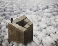 Chinese businessman standing on tower above clouds 11018078046| 写真素材・ストックフォト・画像・イラスト素材|アマナイメージズ