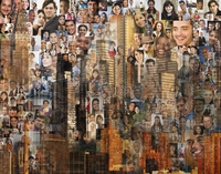 Collage of images of people and highrise buildings 11018080108| 写真素材・ストックフォト・画像・イラスト素材|アマナイメージズ