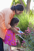 Mixed race mother and daughter watering flowers 11018080907| 写真素材・ストックフォト・画像・イラスト素材|アマナイメージズ