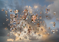 Puzzle pieces with smiling faces floating in cloudy sky 11018087319| 写真素材・ストックフォト・画像・イラスト素材|アマナイメージズ
