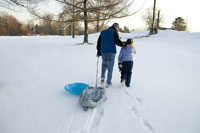 Father and daughter pulls sleds up hill 11029005419| 写真素材・ストックフォト・画像・イラスト素材|アマナイメージズ