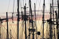 Rigging of Fishing Boats Silhouetted against Sky at Sunset, Prince Rupert, British Columbia, Canada 11030038395| 写真素材・ストックフォト・画像・イラスト素材|アマナイメージズ