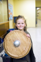 Girl Dressed up at School as Viking Shieldmaiden for Halloween, Toronto, Ontario, Canada 11030042239| 写真素材・ストックフォト・画像・イラスト素材|アマナイメージズ