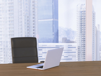 Digital Illustration of Desk with Arm Chair and Laptop in front of Skyline 11030043631| 写真素材・ストックフォト・画像・イラスト素材|アマナイメージズ