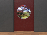 Digital Illustration of Grey and Red Concrete Walls with view through Round Window into Japanese Garden 11030043862| 写真素材・ストックフォト・画像・イラスト素材|アマナイメージズ