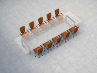 Illustration of glass conference table with business chairs on granite tiles, studio shot 11030044148| 写真素材・ストックフォト・画像・イラスト素材|アマナイメージズ