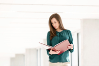 Young businesswoman reading file in new office 11044034812| 写真素材・ストックフォト・画像・イラスト素材|アマナイメージズ