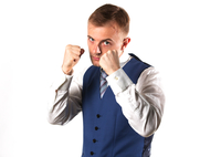 Businessman posing showing that he is a fighter 11044035903| 写真素材・ストックフォト・画像・イラスト素材|アマナイメージズ