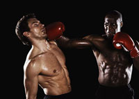Two men boxing with one being hit 11055004040| 写真素材・ストックフォト・画像・イラスト素材|アマナイメージズ