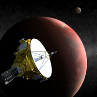 Artist's concept of the New Horizons spacecraft as it approa 11079020632| 写真素材・ストックフォト・画像・イラスト素材|アマナイメージズ