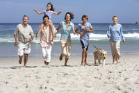 Three generation family running with dog on beach, smiling, girl (6-8) on father's shoulders 11080003098| 写真素材・ストックフォト・画像・イラスト素材|アマナイメージズ