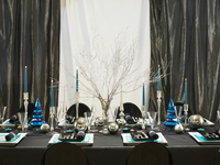 A festively laid Christmas table in blue and silver 11084000053| 写真素材・ストックフォト・画像・イラスト素材|アマナイメージズ