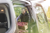 Male farmer loading red apples into car in orchard 11086034319| 写真素材・ストックフォト・画像・イラスト素材|アマナイメージズ