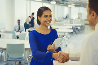 Smiling businesswoman shaking hands with businessman in office 11086035748| 写真素材・ストックフォト・画像・イラスト素材|アマナイメージズ