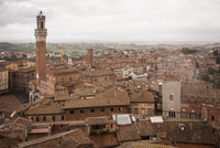 High angle view across the city of Siena with the Piazza del Campo and Torre del Mangia landmarks. 11093005833| 写真素材・ストックフォト・画像・イラスト素材|アマナイメージズ