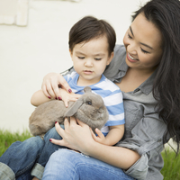 Smiling woman holding a rabbit, her young son sitting on her lap, stroking the animal. 11093006344| 写真素材・ストックフォト・画像・イラスト素材|アマナイメージズ