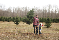 Young boy and man holding saw and Christmas tree standing outdoors near a forest. 11093017587| 写真素材・ストックフォト・画像・イラスト素材|アマナイメージズ