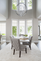 Vaulted ceiling chandelier hanging over elegant dining table 11096010102| 写真素材・ストックフォト・画像・イラスト素材|アマナイメージズ