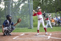 Young male baseball player ready to bat at home. 11096023643| 写真素材・ストックフォト・画像・イラスト素材|アマナイメージズ