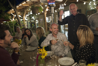 Friends toasting champagne and wine glasses out outdoor harvest dinner party 11096046194| 写真素材・ストックフォト・画像・イラスト素材|アマナイメージズ