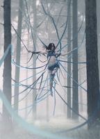 Young woman tied up with ribbons in forest, Buryatia, Russia 11098024366| 写真素材・ストックフォト・画像・イラスト素材|アマナイメージズ